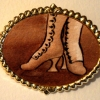 Brown Boots on Large Gold-Tone Pin