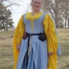 Blue Herringbone Irish Dress - Front View