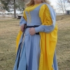 Blue Herringbone Irish Dress - QuarterFront View