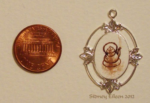 Brown Ink Teapot on Silver-Tone Pendant
