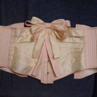 Pink and Cream Fabric Ribbon Corset