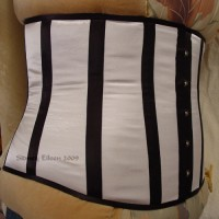 Plus-Sized White Satin Underbust with Black Boning