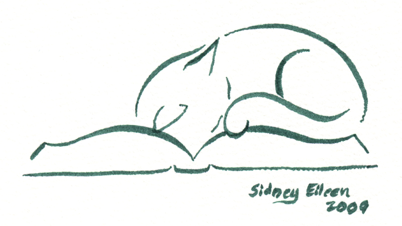 Title: Min. Cat on Book 2, Artist: Sidney Eileen, Medium: brush marker on paper