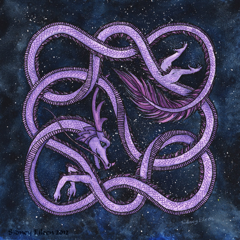 Title: Woven Celestial Dragon, Artist: Sidney Eileen, Medium: ink and watercolor on aquabord