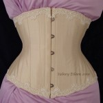 Cream Silk Underbust with Lace Edging - Front View, by Sidney Eileen