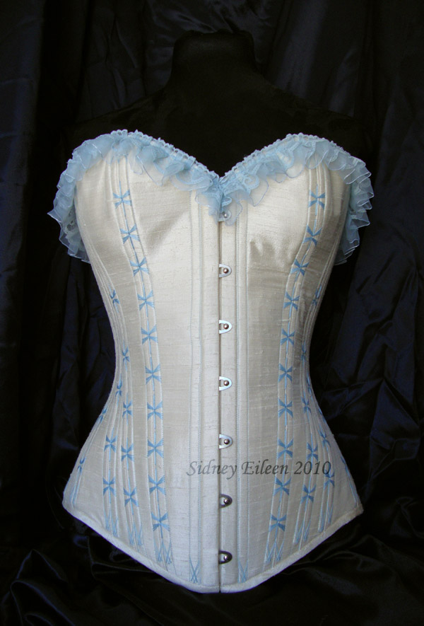 1880's Blue and Cream Silk Sweetheart - Front View, by Sidney Eileen