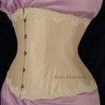 Cream Silk Underbust with Lace Edging - Quarter Front View, by Sidney Eileen