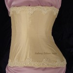 Cream Silk Underbust with Lace Edging - Side View, by Sidney Eileen