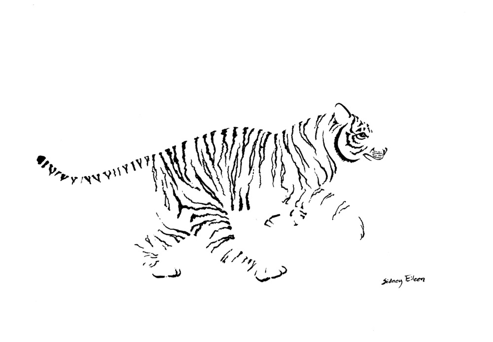 New art minimal running tiger by sidney eileen for Minimal art tattoo