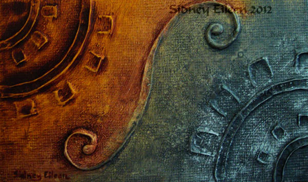 Title: Silver Gear Copper Gear, Artist: Sidney Eileen, Medium: impasto acrylic on canvas